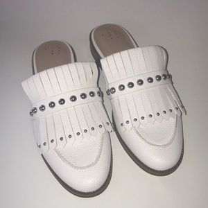 A New Day White Mules with Silver Grommets
